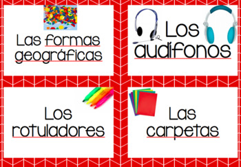 Classroom Supply Labels en español