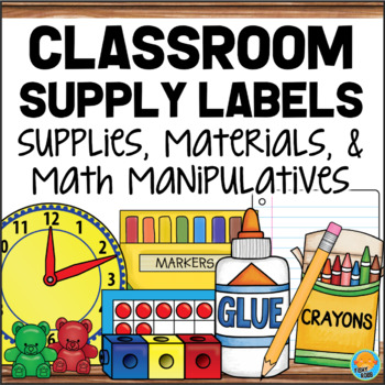 Classroom Supply Labels for Materials, Supplies & Math Manipulatives WOOD FRAME