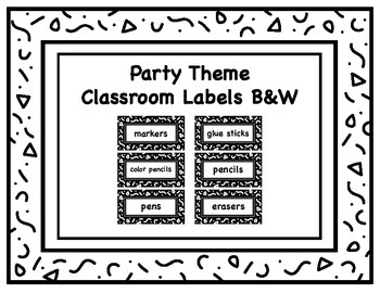 Classroom Supply Labels in Party Theme