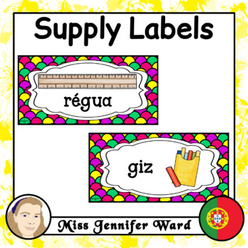 Classroom Supply Labels in Portuguese