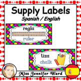 Classroom Supply Labels in Spanish / English