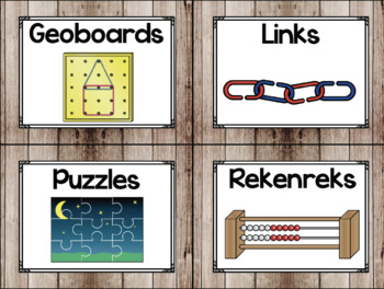 Classroom Supply Labels in a Camping Classroom Decor Theme
