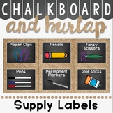 Classroom Supply Labels in a Chalkboard and Burlap Classroom Decor Theme