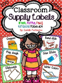 Classroom Supply Labels {red, green turq, purple}