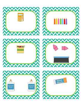 Classroom Supply Labels (unlabeled, editable) Seafoam and Lime Dot and Chevrons