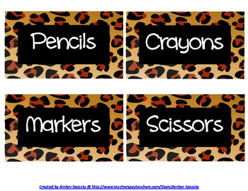 Classroom Supply Labels with a Cheetah Border