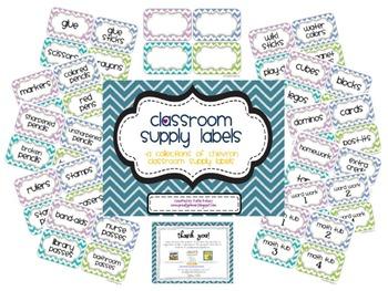 Classroom Supply Labels_Back to School Chevron