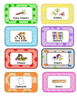 Classroom Supply Label Sample