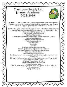 Classroom Supply List