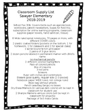 Classroom Supply List