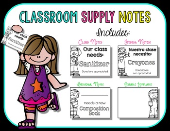 Classroom Supply Notes {Spanish and Editable Notes Included!}