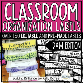 Classroom Supply & Organization Labels (Black and White Version)
