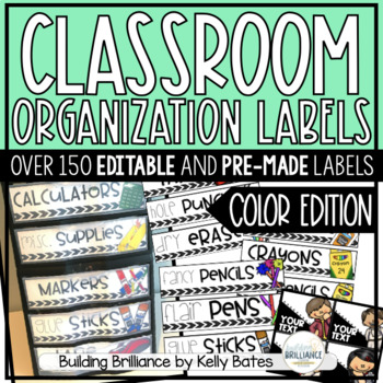 Classroom Supply & Organization Labels (Color Version)