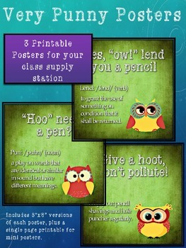 Classroom Supply Posters Owl Puns By Disorderly Teaching Tpt