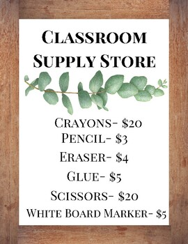 Classroom Supply Store Sign
