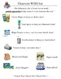 Classroom Supply Wish List