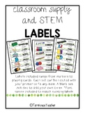 Classroom Supply and STEM Supply Labels-Watercolor Theme