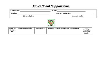 Classroom Support Plan for Mentors/Coaches