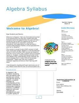 Classroom Syllabus Newsletter
