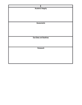Classroom Syllabus for Back to School
