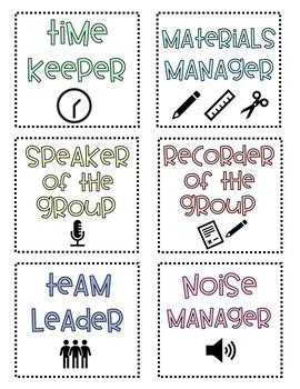 Classroom Table Job Labels