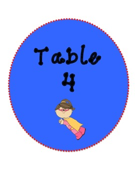 Classroom Table Labels (Superhero Theme)