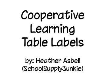 Classroom Table Labels for Cooperative Learning