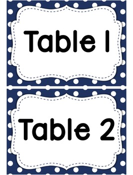 Classroom Table Labels in blue polka dot
