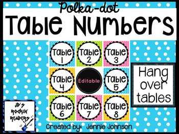 Classroom Table Number Signs- Bright Polka Dot