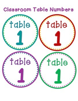 Table Numbers Colorful Dots