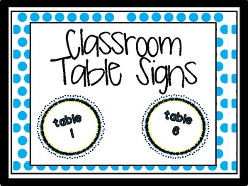 Classroom Table Signs