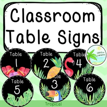 Classroom Table Signs (Tropical)