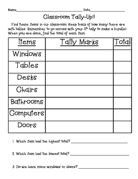 Classroom Tally-Up!- tally mark practice page
