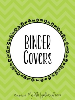 Classroom Teacher Binder Covers - Green Chevron Theme