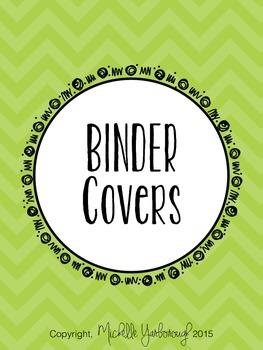 Classroom Teacher Binder Covers - Green Chevron Theme