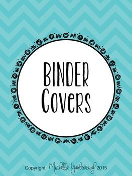 Classroom Teacher Binder Covers - Turquoise Chevron