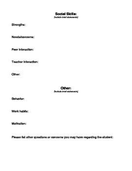 Classroom Teacher Input for IEP