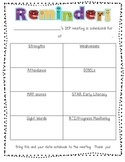 Classroom Teacher Reminder and Input Note for IEP Meetings