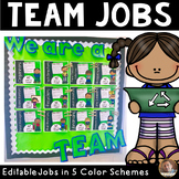 Classroom Team Jobs Bulletin Board:Editable Tasks-Green, R