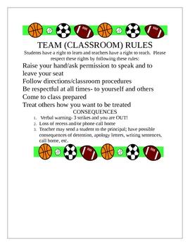 Classroom (Team) Rules
