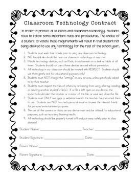 Classroom Technology Contract- Keep students accountable & your technology safe!