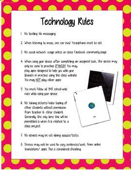 Classroom Technology Rules Posters Plain and Polka Dot Border Spanish BYOD, iPad