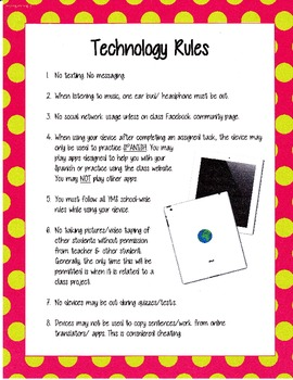 Classroom Technology Rules Posters Plain and Polka Dot Bor