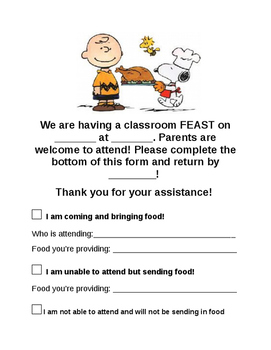 Classroom Thanksgiving Feast Sign-up