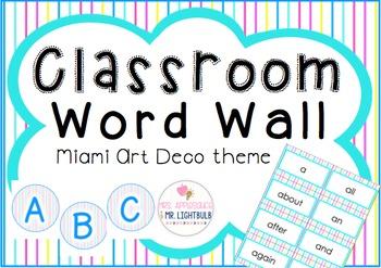 Classroom Theme Blue Pink Aqua Yellow : Word Wall