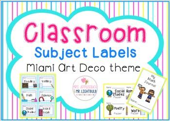 Classroom Theme Blue Pink Aqua Yellow : Student Labels
