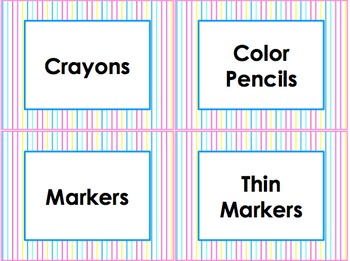 Classroom Theme Blue Pink Aqua Yellow : Supply and Tool Labels