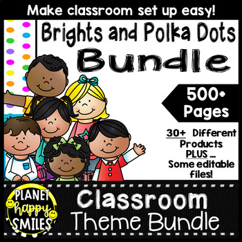 Classroom Decor Theme Bundle ~ Bright Polka Dots and Stripes Theme