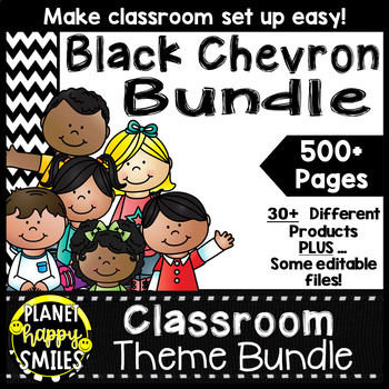 Classroom Decor Theme Bundle ~ Chevron Black and White Print