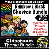 Classroom Decor Theme Bundle ~ Chevron Rainbow Print with black background